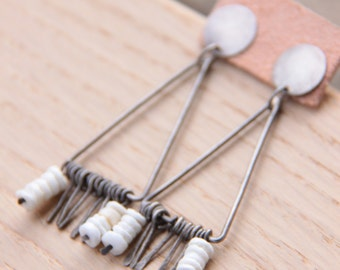egypt earrings. sterling silver geometric earrings. aztec long stud earrings. triangle earrings.