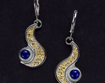 River of Gold Earrings - Alaskan Gold Nuggets, Sterling Silver & Lapis Lazuli