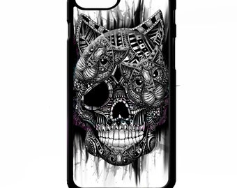 Cat kitten sugar skull day of the dead tattoo cats graphic art cover for iphone 4 4s 5 5s 5c SE 6 6s 7 8 plus X phone case