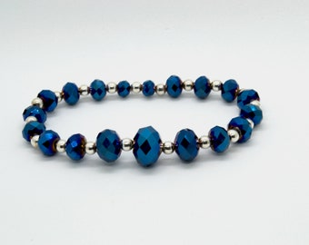 bracelet of blue glass with silver