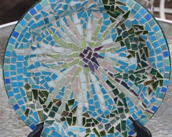 MOSAIC Dandelion plate Blue turquiose white green abstract glass tiles round wooden  OOAK wall decor