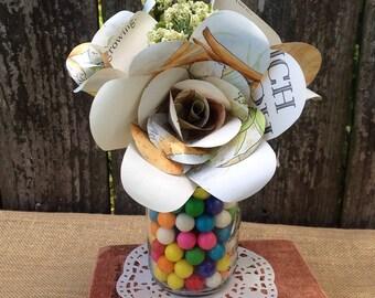 Children's book paper flower bouquet/Children's Book Theme Centerpiece