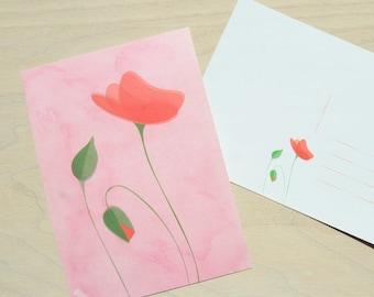 Illustrated postcard Poppy