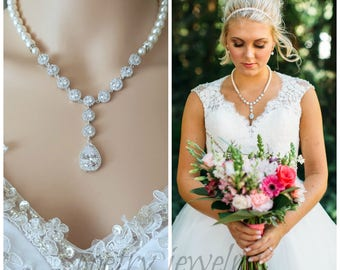 Bridal Pearl Necklace Pearl Statement Wedding Necklace Pearl Crystal Necklace Cubic Zirconia Pearl Bridal Jewelry, Cristle