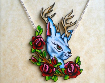 Jackalope Rabbit with Antlers and Crest of Vintage Tattoo Roses Necklace