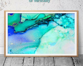 Abstract Print, Blue Wall Decor, Modern Minimalist Print, Landscape Painting, Contemporary Wall Art, Turquoise Digital Download, Art Prints