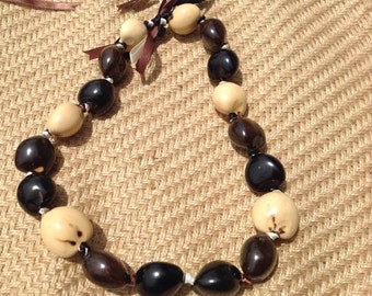 Jewel Nut Of Paradise Island. KUKUI NUT LEI.Genuine White, Black & Brown Kukui Nut Choker For Adult Or Necklace For Young Children!
