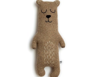 Brian the Bear Knitted Animal Plush Lambswool Soft Toy - Made to order