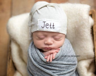 boy hospital outfit- personalized baby hat- newborn name hat- baby knit hat- embroidered baby hat- baby name hat- personalized hospital hats