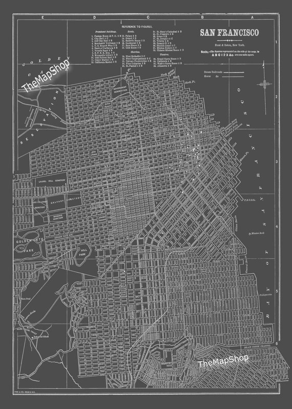 San Francisco Map San Francisco Street Map Vintage Dark Gray