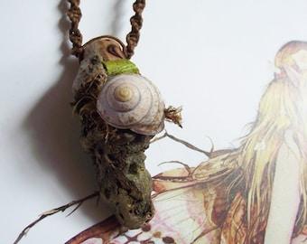 Crescent Moon Dryad Pendant- pagan- woodland- fairy-wicca-druid-celtic-macrame-moon-goddess-forest spirits