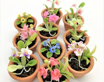Value set of Tropical Flowers Handmade Miniature Polymer Clay Art Flowers for Dollhouse and Wedding Gifts, set of 10 pieces