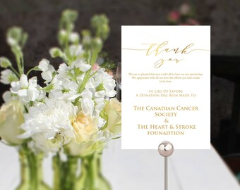 Gold wedding In Lieu Of Favors sign template, small printable card for your wedding tables in 2 useful sizes, wedding favor donation sign