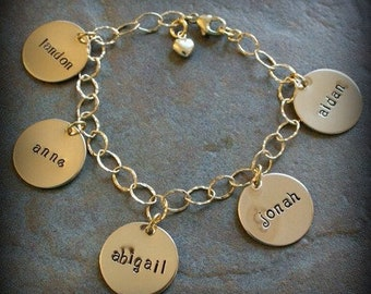 Gold Filled ClassicCharm Hand Stamped Personalized Mommy Name Family Memorial Bracelet