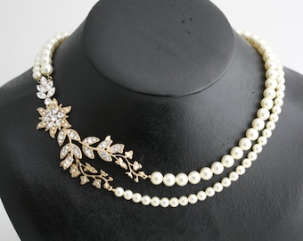 Wedding Necklace Statement Bridal Jewelry Necklace Leaf Wedding Necklace Vintage Bridal Necklace Flower Wedding Necklace Pearl Necklace TESS