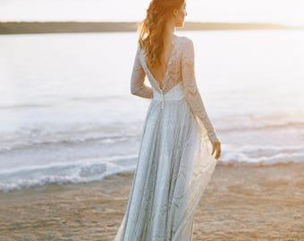gray wedding dress, open back wedding dress, boho wedding dress, gray bridal gown, long sleeve, backless, wedding dress, grey,