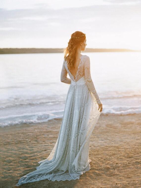 Gray wedding dress open back wedding dress boho wedding junglespirit Image collections