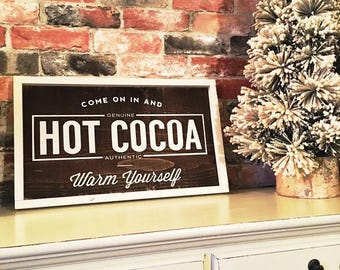 Hot cocoa painted solid wood sign