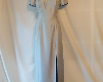 Sz 2 4 Silk Asian Style Formal - Full Floor Length - Evening Gown - Pale Pastel Gray Blue - Cheongsam Qipao Chinese