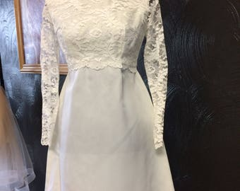 Fun 70's rehearsal dress with lace bodice and sleeves