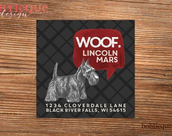 Scottie Dog Custom Return Address Labels with Color Options