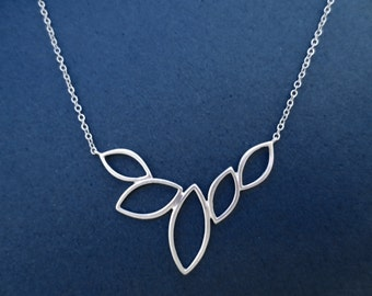 Modern, Marquise, 5 Leaves, Silver, Necklace, Modern, Leaf, Necklace, Birthday, Best friends, Mom, Sister, Gift, Jewelry