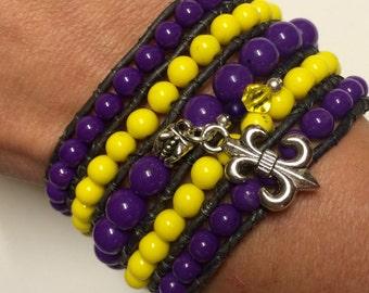 Football season! Customize your colors & charm! Beaded Cuff Wrap Bracelet