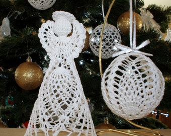 Beautiful white hand crochet christmas angel and ornament