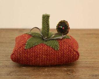 Primitive Tomato Pincushion - Felted wool in Autumn tones