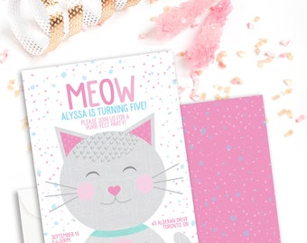 Kitten Birthday Party Invitation - Kitty Birthday Invitation - Cat Birthday Invitation - Purr-fect Party - Girl Birthday Invite - Meow