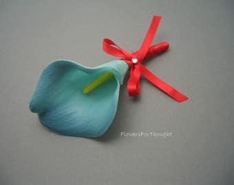 Aqua Real Touch Calla Lily Boutonniere, Wedding Lapel Flower, Groom, Groomsmen