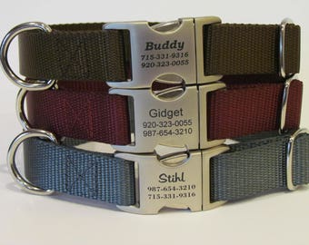 Personalized Dog Collar - All Metal Buckle Laser Engraved With 16 Webbing Colors To Choose From Handmade In USA