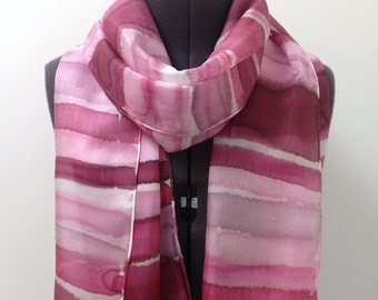 Pink Stripe Silk Scarf ~ Hand Painted Silk Scarf, Fuscia Wedding Accessories, Magenta Scarf, Pink Wedding Accessories, Gift for mothers Day