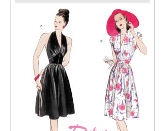 Sewing Pattern for Misses' Deep V-Neck Dress, Butterick Pattern 5209, Retro '47s, 1940's Style Dress, Halter Neck Dress