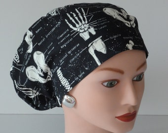 European Style Scrub Hat...Glow in the Dark Bones...X-Ray Tech/Orthopedics/Scrub Hats for Women