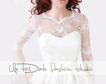 Wedding lace top/ wedding jacket/ shrug/ lace top with deep-v in back/cover up/wrap/long sleeve/wrap/topper