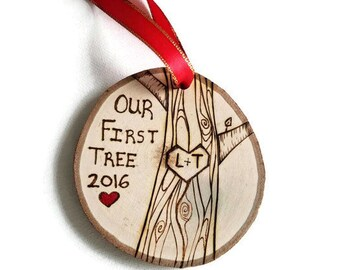 Our first christmas ornament, first christmas ornament, wood ornament, first tree ornament, couples ornament, first christmas together