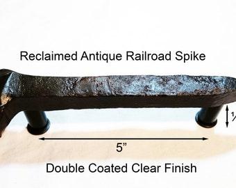 "5"" Left Sealed Railroad Spike Cupboard Handle Dresser Drawer Pull Cabinet Knob Antique Vintage Old Rustic Re-purposed House Restoration"