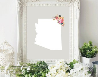 arizona state silhouette floral 8x10 art print instant download