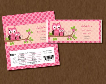 DIY Editable Name - Candy Bar WRAPPERS - Instant Download - Pink Damask Owl Printable Personalized Baby Shower Birthday Party Favors
