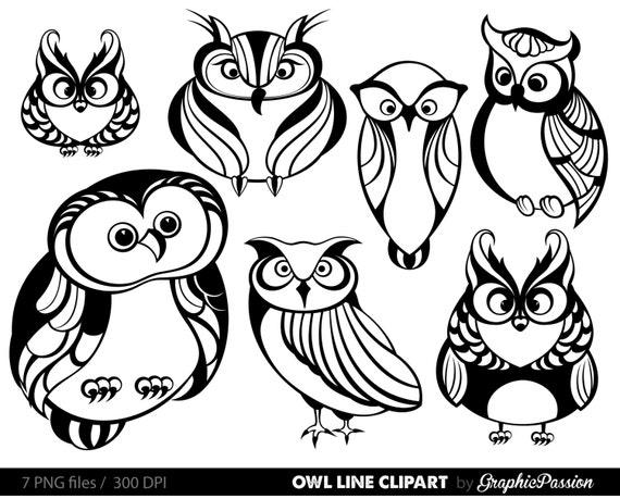 Line Art Baby : Owl clipart digital clip art baby party