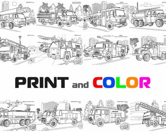 Coloring Firetrucks Book Truck Pages Firetruck Color Fire Engine Print Transportation