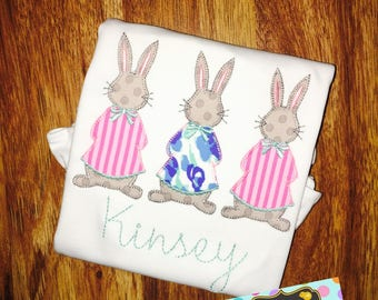 Girly Peter Cottontail Trio Shirt or Bodysuit; Personalized, Monogram