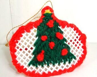 Vintage Needlecraft Christmas Ornament, Christmas Tree Ornament, Red, Green White, Plastic Canvas Craft  (714-13)