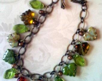 Ladybug Amidst the Leaves Charm Bracelet