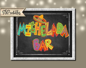 Printable Michelada Bar Sign, Michelada Sign, Fiesta Party Sign, Fiesta Wedding Sign, Mexican Michelada Sign, Fiesta party decorations