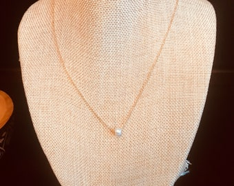 Hartley Necklace - Single Seed Pearl - Dainty Chain - 16k Gold - Sterling Silver - 16k Rose Gold - Minimalist