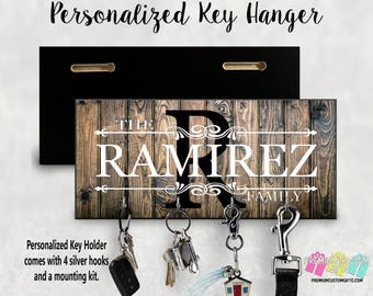 Custom Wood Key Holder For Wall - Personalized Key Hanger - Made Of MDF Wall Key Hanger - Housewarming Gift - Anniversary Gift For Her