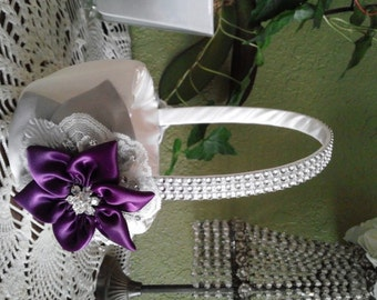 Flower Girl Basket, Ivory and Plum Purple,  Plum Star Flowers and Slver Leaves, Rhinestone Mesh handle, Rustic Wedding Flower Basket