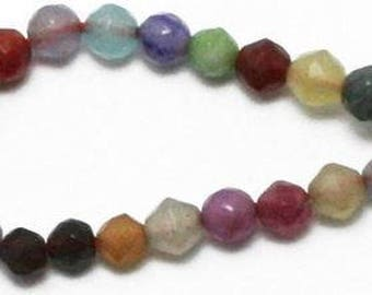 Rainbow Glass Beads - 80 pieces - 4mm - Jewelry Making